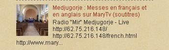 Medjugorje : Messes en français et en anglais sur MaryTv (soutitres)