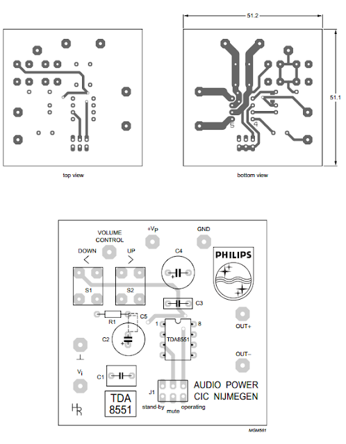 PCB layout Circuit diagram TDA8551 Audio Ampllifier 1 x 1 W