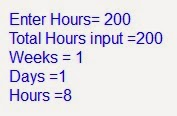C Plus Plus Program Conversion of Hours into Weeks Days Hours