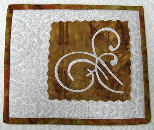 Batik mug rug from inverted design