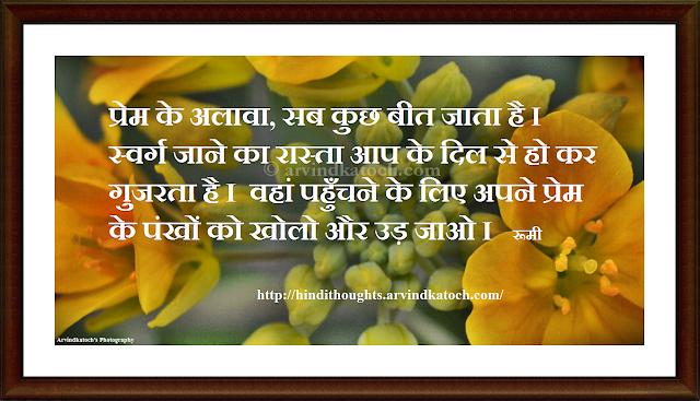 Apart, love, passes, away, wings, Rumi Hindi, Thought, Rumi Quote, Hindi