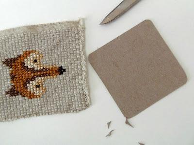 cross stitch fox framed