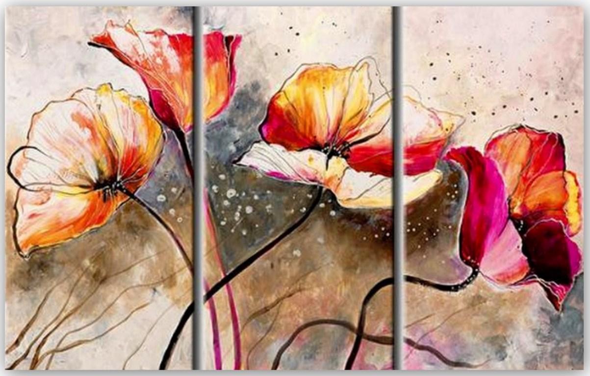 cuadros artisticos y minimalistas de flores pintura al