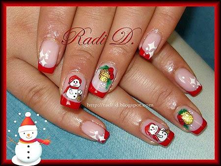 Маникюр Снежен човек Дядо Коледа