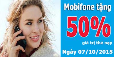 Tặng 50% giá trị thẻ nạp Mobifone ngày 07/10