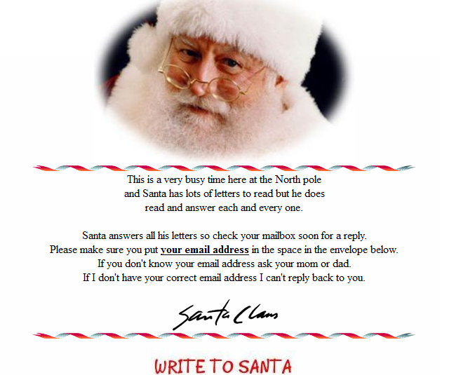 Write a letter to santa and he writes back