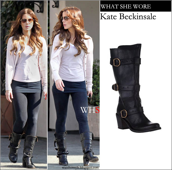 What She Wore Kate Beckinsale In Black Leather Tall Boots