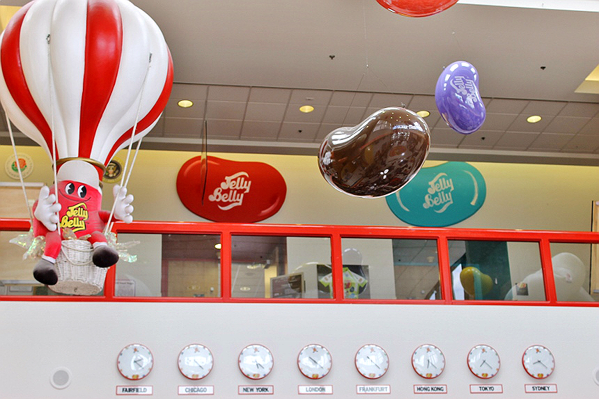 Jelly Belly Factory- Fairfield, Northern California- Free tours, open 7 days a week.