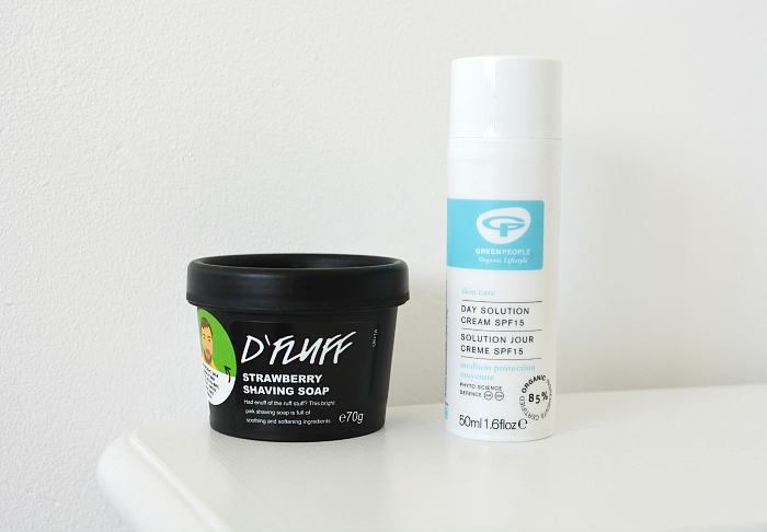 Lush D'Fluff shaving soap and Green people day solution cream SPF15
