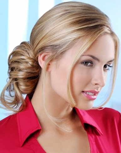 Glossy Loose Updo Hair Style 2014