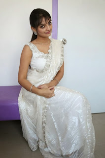 Actress Nikitha Narayan Pictures in White Saree at Homeo Trend Super Speciality Hospital Launch  0102