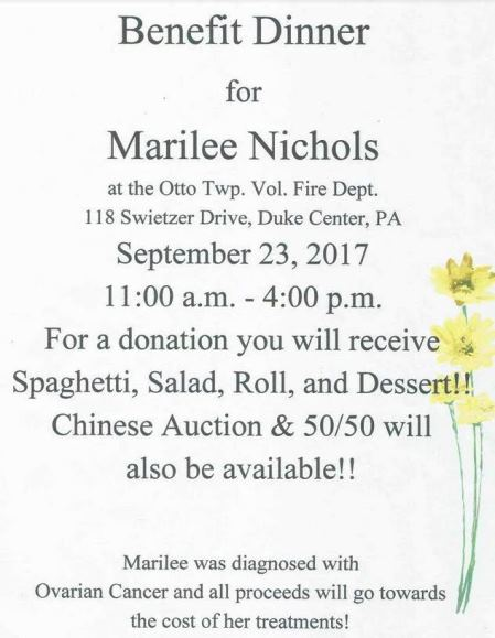 9-23 Benefit Dinner For Marilee Nichols
