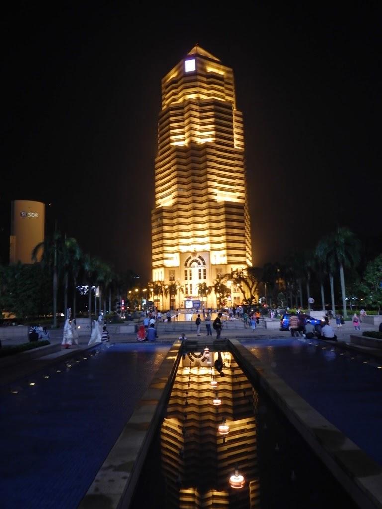 Kuala Lumpur by night tower reflection