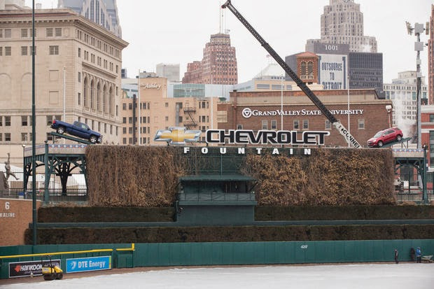 Two Chevrolet Vehicles Sit Atop Fountain in Comerica Park