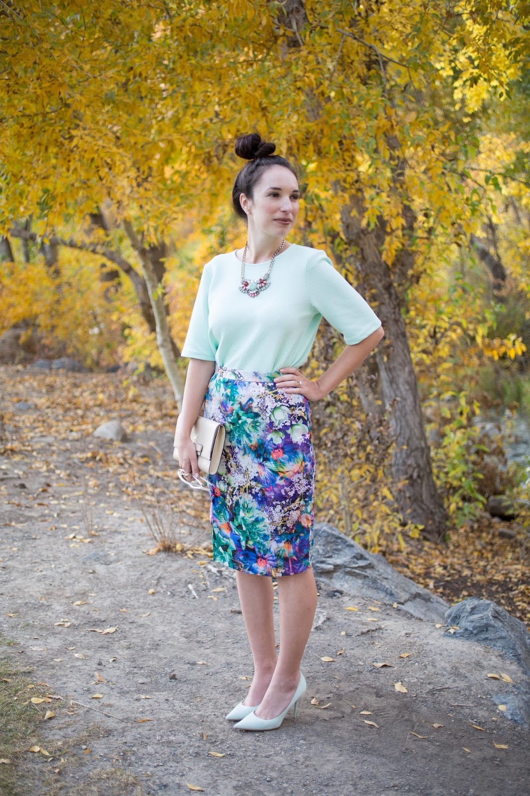 Kingdom and State Digital Print Pencil Skirt