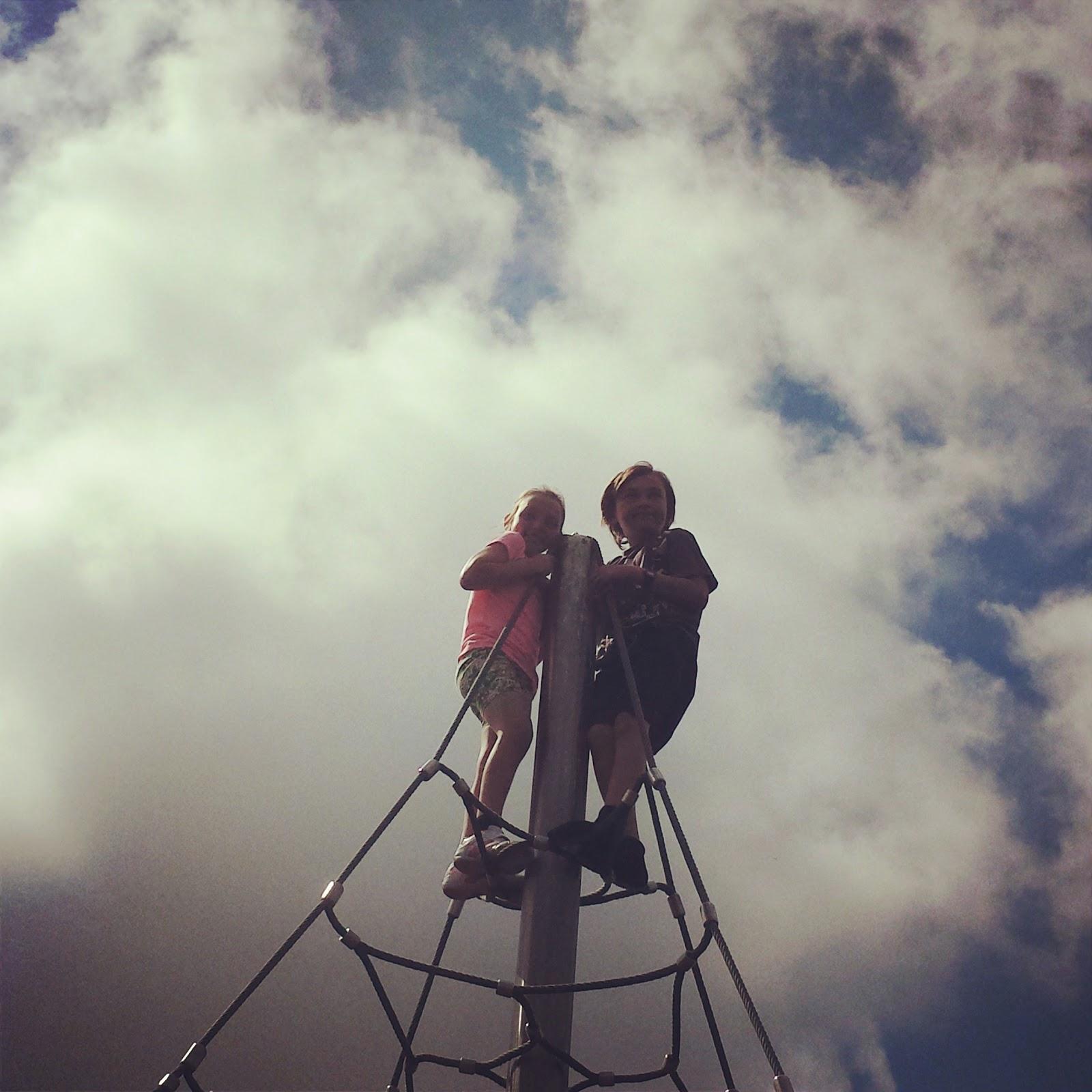 Rebecca Danny climb high spiderweb park