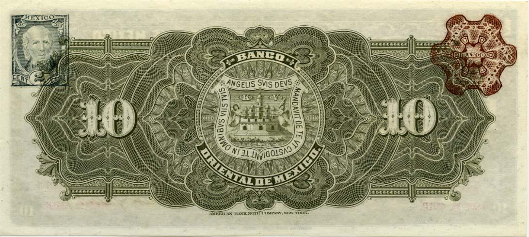 Banca Oriental De Puerto Rico:Mexico Paper Money 10 Diez Pesos