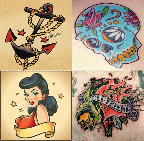 Tatouage Old School signification des motifs * Pouchinette  - tatouage coeur old school