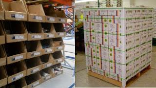 palés frente a cajones de preparación e-commerce