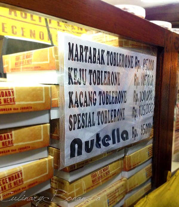 Pricelist of Martabak Toblerone (IDR 85,000) & Martabak Nutella (IDR 95,000)