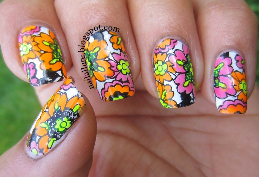 Colourful floral stamping nail art