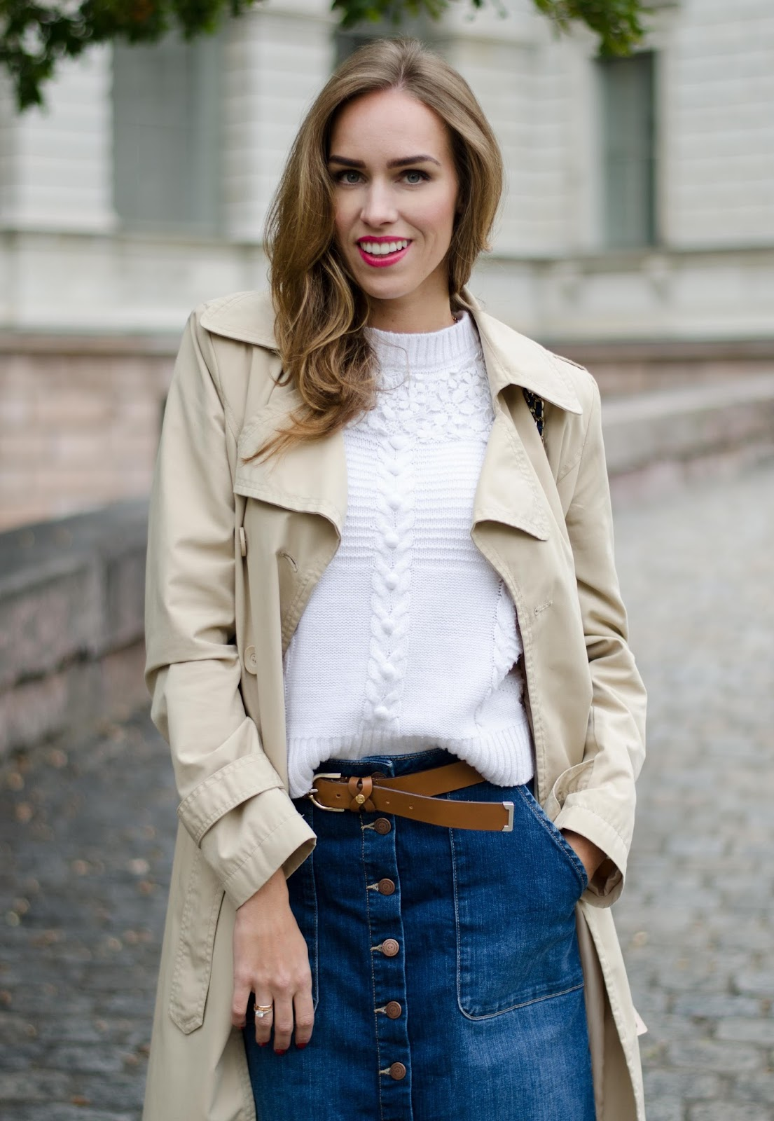 kristjaana mere beige trench white sweater blue denim skirt brown belt outfit