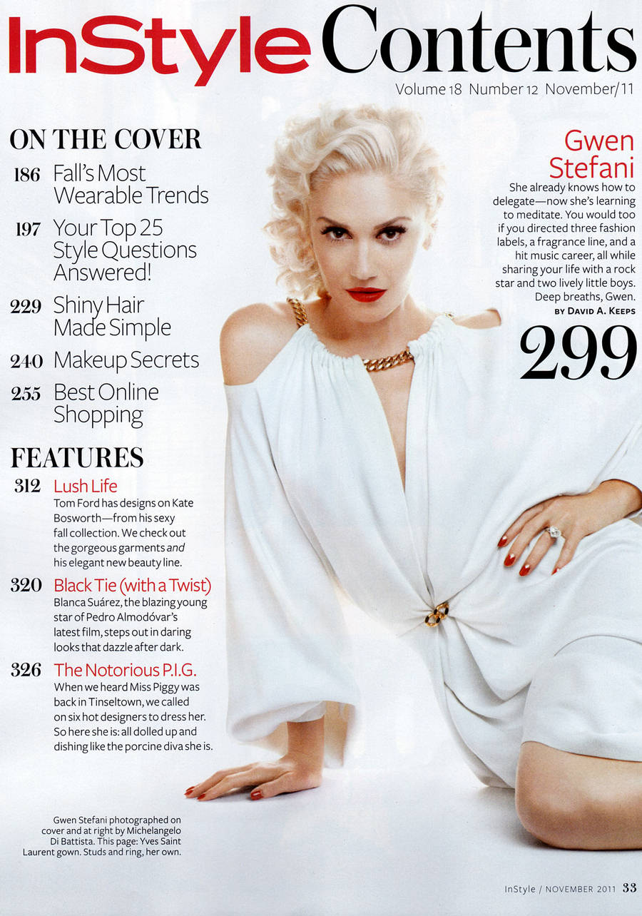 Gwen Stefani Instyle Us Magazine November 2011   Photoshoots By