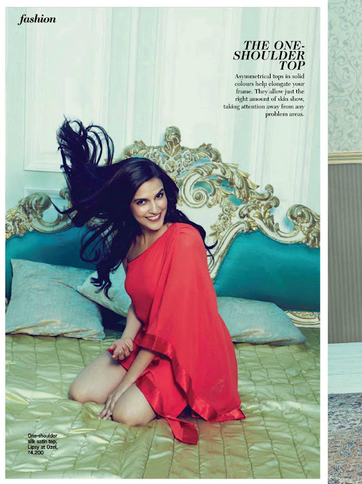 Neha Dhupia Red dress hot pic -  Neha Dhupia Cosmopolitan May 2012