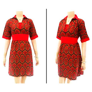 DB2952 Model Baju Dress Batik Modern Terbaru 2013