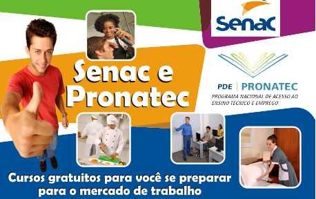pronatec senac cursos gratuitos Pronatec SENAC   Cursos Técnicos Gratuitos no SENAC 2015
