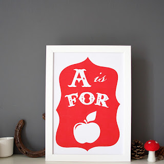 a is for apple alphabet print