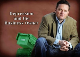 Depressed businessman with title text