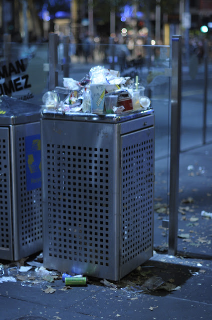 melbourne white night australia tim macauley trash garbage rubbish overflowing over the top