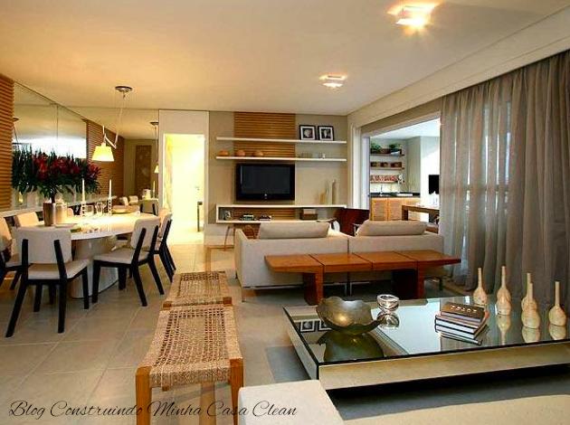 Decorar Sala De Tv E Jantar ~ Toques neutros e madeirado trazendo leveza e conforto!