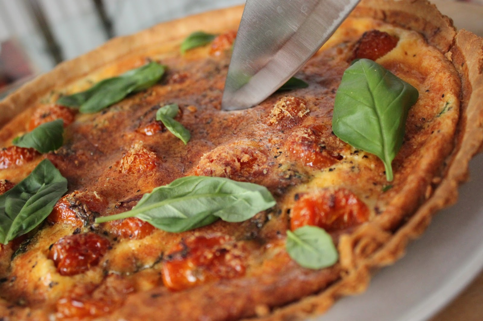 Roasted tomato basil parmesan quiche the small slice between my mother meghan and i we ate the whole quiche in one sitting oops it was lovely and i recommend the recipe to anyone attempting their first forumfinder Image collections