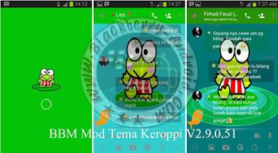 Download BBM Mod Lucu Tema Green Keroppi Terbaru Versi 2.9.0.51 Apk