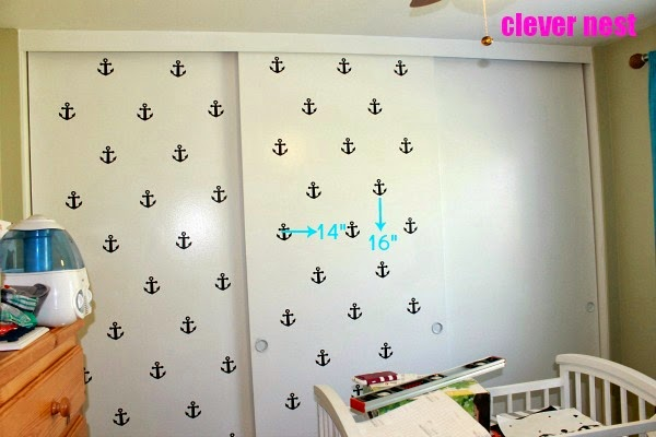 Anchor accent wall using Silhouette #craftmonthlove #nautical #nursery #boysroom #blackandwhite #vinyl