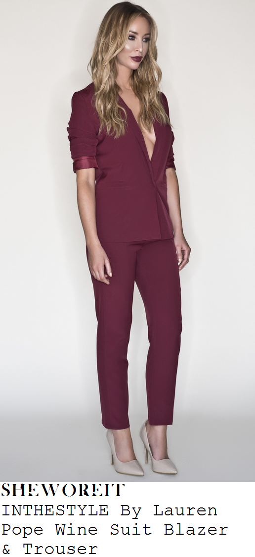 lauren-pope-wine-purple-tailored-blazer-and-trousers-suit-co-ords-binky-launch
