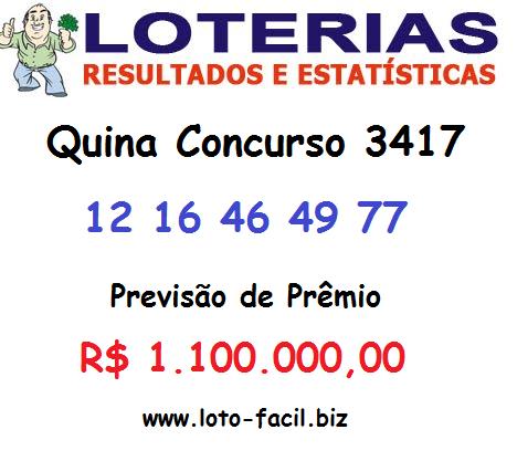 Estimativa de Prêmio R$ 1.100.000,00 acertando as 5 dezenas sorteadas pelas Loterias da Caixa Econômica Federal