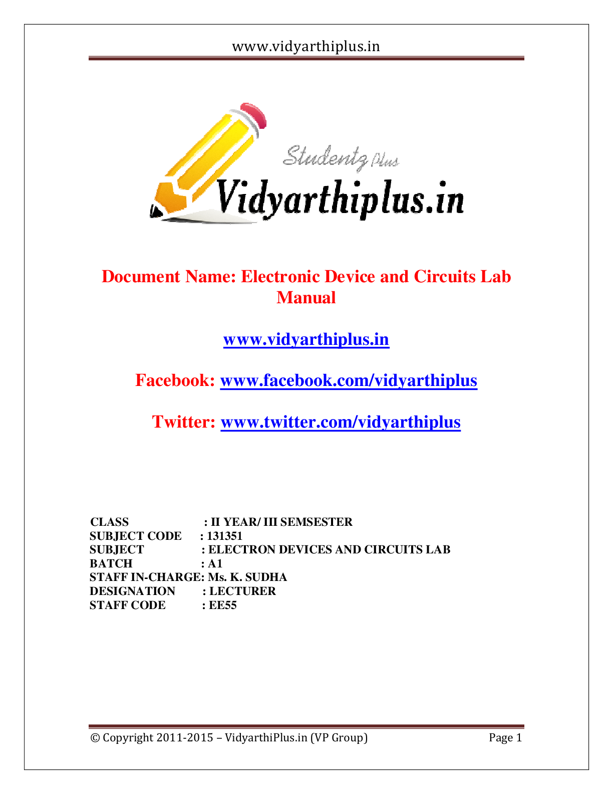 Electronic Device and Circuits (EDC) - Lab Manual