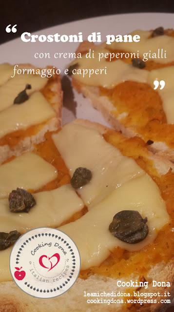 crostoni di pane pugliese con crema di peperoni gialli, provolone piccante e capperi