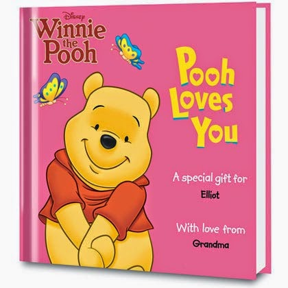 pooh love you personalized book cover