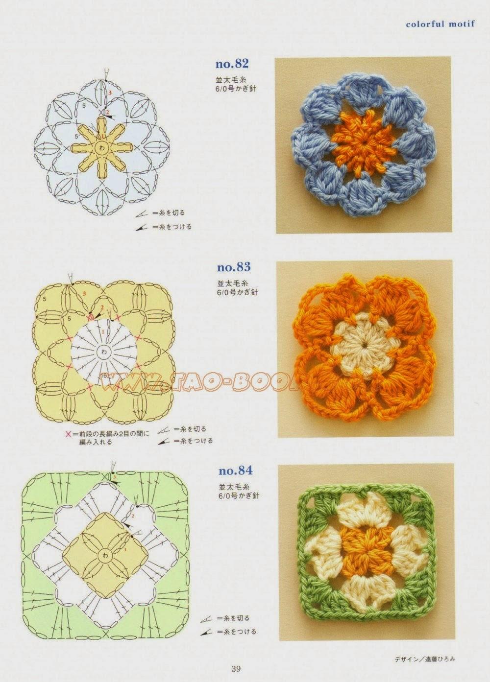 Вязание крючком квадратных цветов
