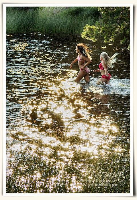 Molkomsjön, solnedgång, kvällsdopp
