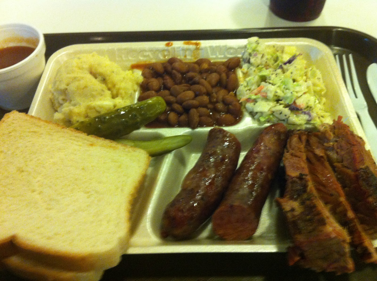 Angelo Fort Worth BBQ Barbecue Barbeque Bar-B-Que Brisket Sausage Combo