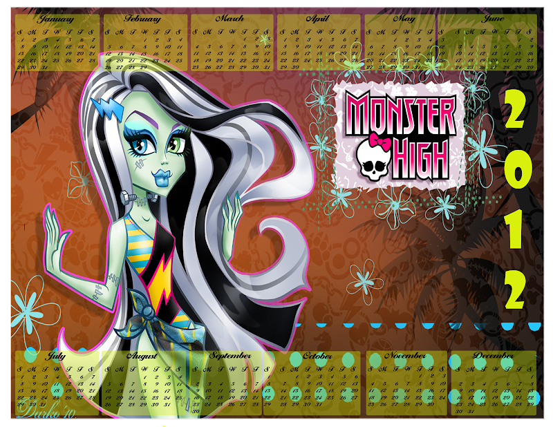 Free Printable Monster High Calendar 2012 title=