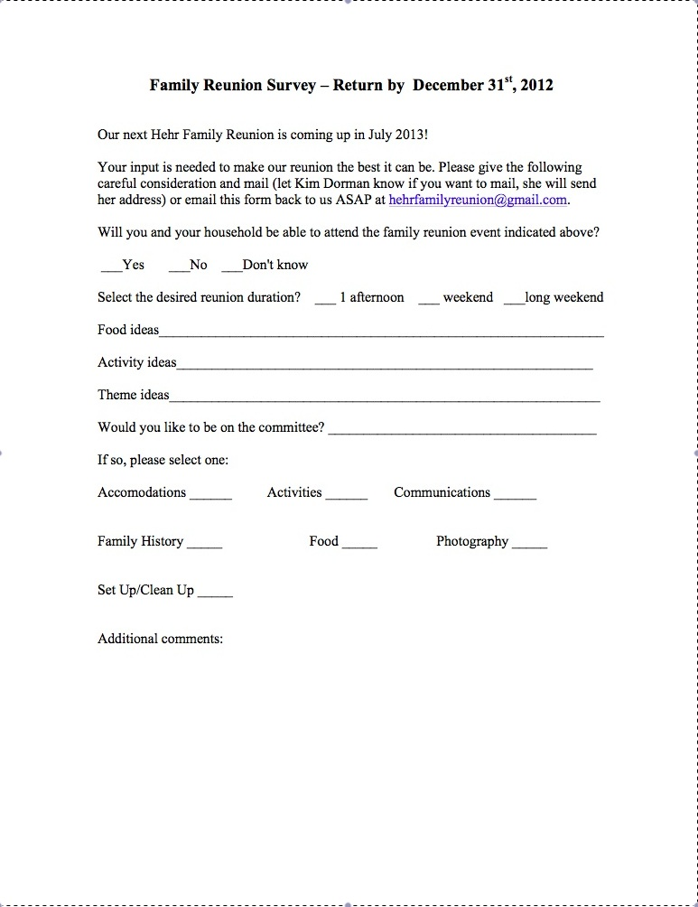 The George and Dorthea (Beitz) Hehr Family Reunion: Reunion Survey