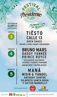 LineUp Festival Presidente 2014