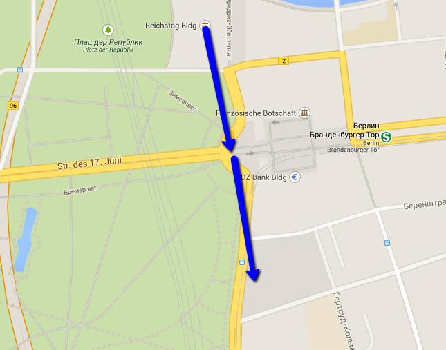 карта рекомендуемого маршрута по Берлину на 1 день