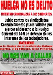 Juicio contra los sindicalistas de CCOO Gonzalo Fuentes y Lola Villalba por la Huelga general 14N